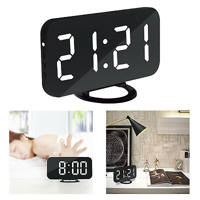 USB Digital LED Dimmable Alarm Mirror Clock Snooze w/ Dual USB Charger For Phone