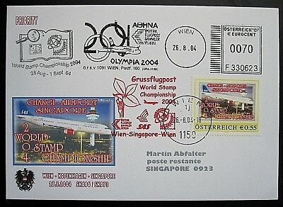 Österreich Brief PM Grußflugpost World stamp Championship Wien-Singapore Airport