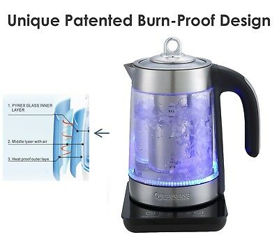QUEEN SENSE 1500W 1.7L Capacity Electric Glass Kettle with Blue LED Light