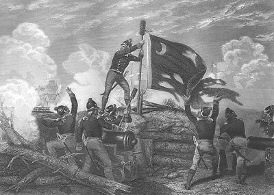 Revolutionary War FORT MOULTRIE William Liberty Flag ~ 1865 Art Print Engraving