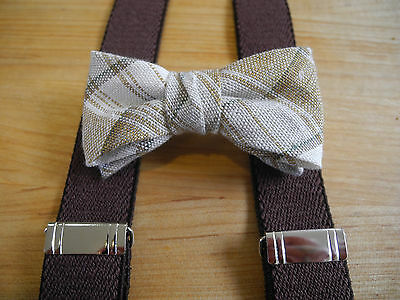 New Toddler/little Boys Linen/ctn  Bow Tie/brown Suspender Set/made In The Usa