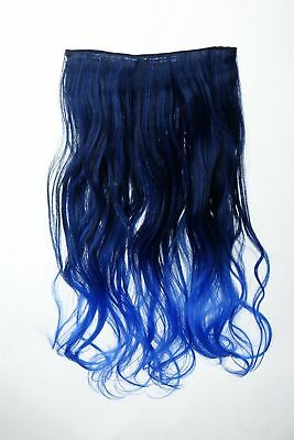 Extension Hair Extensions Clip-In 5 Clip Curly Two-Tone Ombre Blue 50cm Long