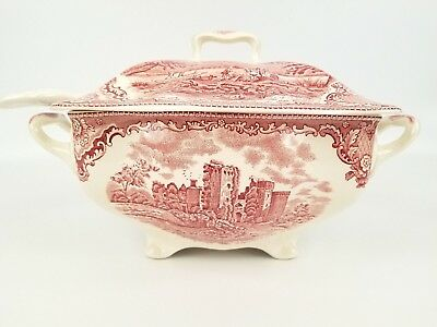 Antique Johnson Brothers Pink Old Britain Castles Soup Tureen Lid & Ladle