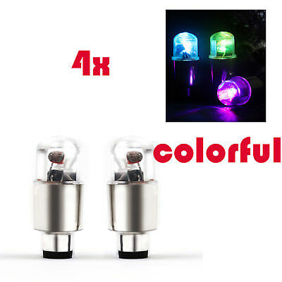 4x Colorful LED Tyre Tire Valve Caps Neon Light motorcycle bike Car wheel light
