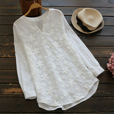 Women Lace Crochet Casual Embroidered Ladies Tops Loose Blouse Shirt Plus Size