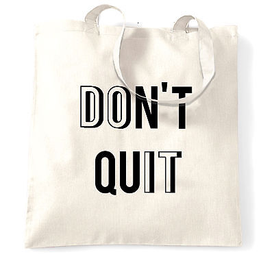 Motivational Tote Bag Don't Quit, Do It Slogan Gym Education Lifestyle Exam