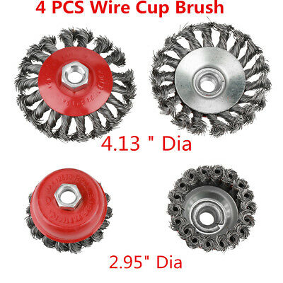 4 PCS 75/105MM Metal Wire Wheel Cup Brush Crimped For Angle Grinder Drill