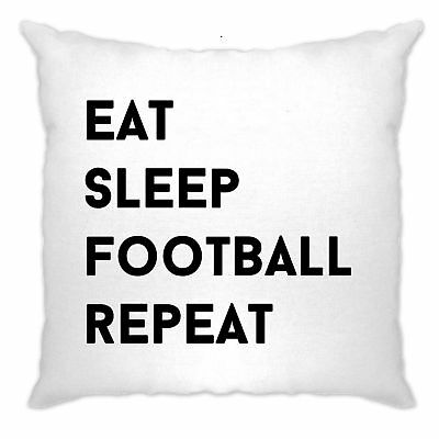 Sports Cushion Cover Eat, Sleep, Football, Repeat Slogan World Cup Soccer