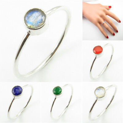 4 mm Stackable Ring ! 925 Silver LABRADORITE & Other Gemstone Many Sizes Options