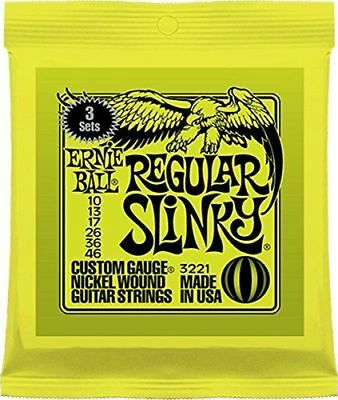 Ernie Ball 3 Pack Regular Electric Guitar Strings 10 - 46 NEXT DAY DELIVERY FREE
