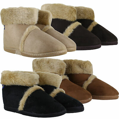 Mens Coolers Hard Sole Warm Lined Furry Slippers Ankle Boots Sizes 7 to 12