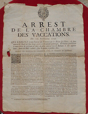 Arrest Chambre Des Vaccations 1745 : Rhone & Isere   !