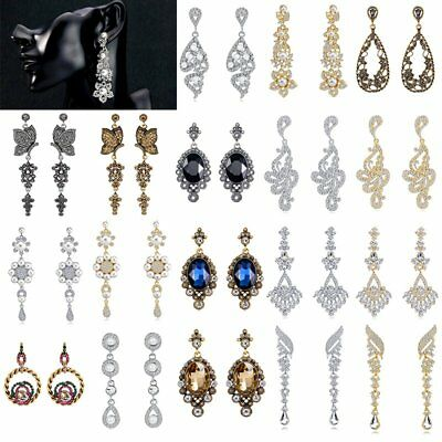 Rhinestone Crystal Earrings Drop Dangle Wedding Bridal Women Charm Jewelry Gift
