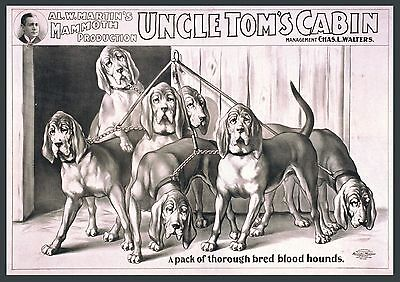 """Hunting dogs, Blood Hounds, Art Print, antique decor, Theatre poster, 20""""x14"""""""
