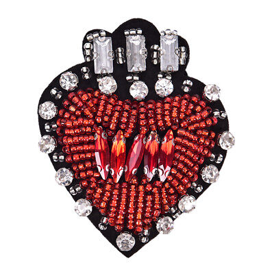 Rhinestone Beaded Heart Shaped Patch for Clothing Sewing on Beading Applique TEU