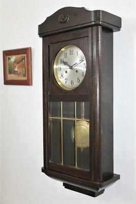 EXCELLENT GERMAN ANTIQUE  DARK OAK WALL CLOCK SIX GLASS PANELS c1925