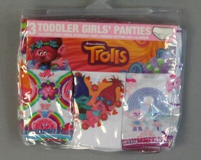 Trolls Girls Handcraft 3 Pack Panties BF5 Multi-Color Size 2T-3T NWT