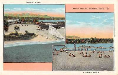 Winona Minnesota Latsch Island Multiview Antique Postcard K102031