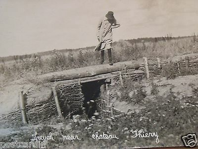 RPPC WOMAN ON TRENCH NEAR CHATEAU THIERY REAL PHOTO B&W UNPOSTED POSTCARD 1910's