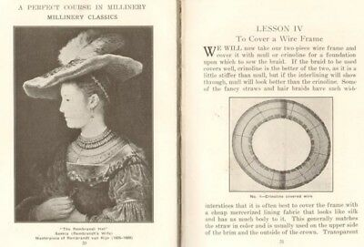 Mega RARE original 1925 HB A Perfect Course in Millinery HatMaking Textbook