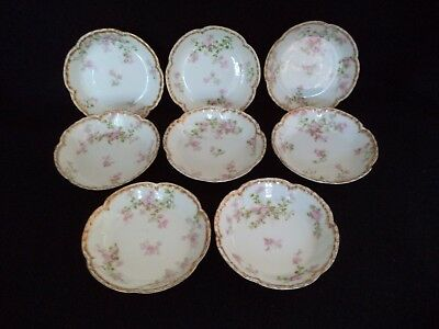 French Haviland china 8 fruit sauce bowls 5in Sch 29 K pink flowers double gold