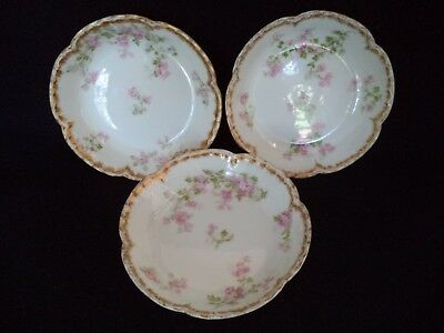French Haviland china 3 fruit sauce bowls 5in Sch 29 K pink flowers double gold
