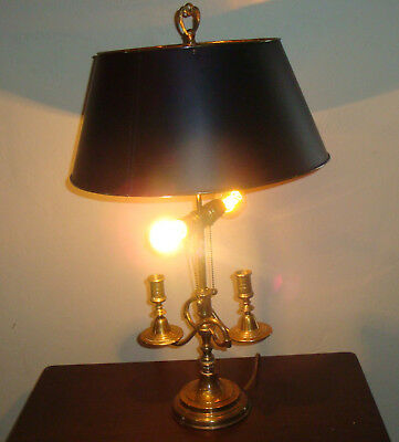 27 French Bouillotte 2 Candle Light Empire Brass Table Lamp Black