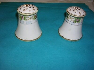 Hand Painted Nippon Salt & Pepper Shakers 2 1/2 tall