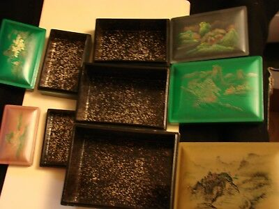 Set of Five Nested Lacquer Boxes, Each with Hand Painted Japanese Scene
