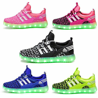 Kids LED Luminous Shoes 7 Colors Light Up Sneakers Unisex Sports Wear USB Charge
