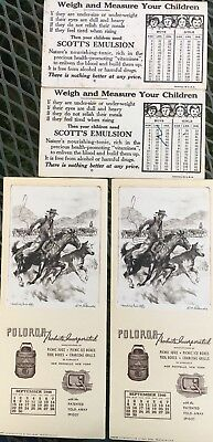 2-1946 COWBOY Blotter-Heading Him Off R.H. PALENSKE Poloron & 2 Scott's Emulsion