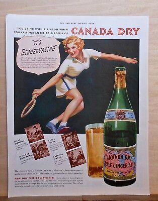 1937 magazine ad for Canada Dry Ginger Ale - Tennis players say its Gingervating