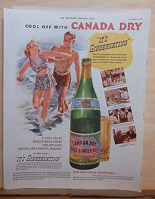 1937 magazine ad for Canada Dry Ginger Ale - couple at beach, Walter Seaton art