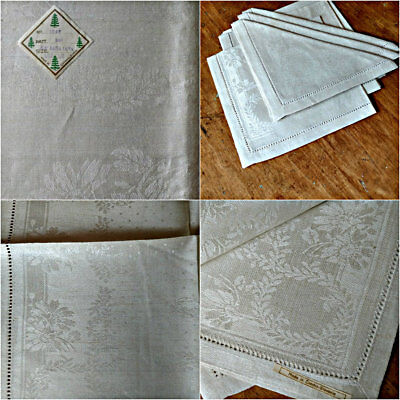 Vintage 1930s Czech Damask Tablecloth 6 Napkins Unused Label Tags