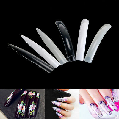 10~100PCS Super Long False Nail Art Tips Acrylic Gel Salon Stage Art Tips 10SIZE