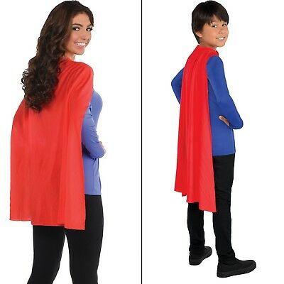 Red Cape Adult Or Children Superhero Magic Party Costume Fancy Dress
