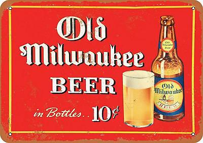 "1937 Old Milwaukee Beer Rustic Retro Metal Sign 9"" x 12"""