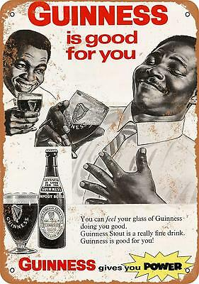 """1968 Guinness Stout Beer Rustic Retro Metal Sign 9"""" x 12"""""""