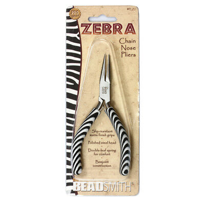 BeadSmith® Zebra Line Chain Nose Pliers with Double Spring * Jewelry Tools