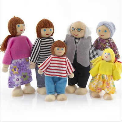 Doll Toy Wooden Furniture Dolls House Family Miniature 7 People For Kid Child