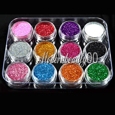 12 PCS MIX COLOR GLITTER DUST POWDER SET for Nail Art ACRYLIC TIPS DECORATION