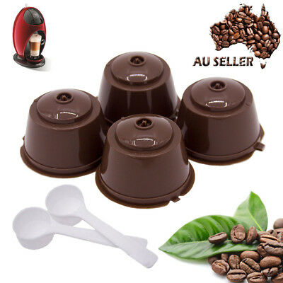 4pcs Dolce Gusto Refillable Reusable Coffee Capsule Pods Cup With 2 Coffee Spoon