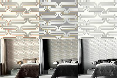 Arthouse Geometric Wallpaper Retro Orange Grey Silver Yellow Luxury Quality