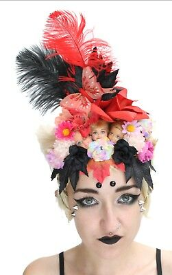 Doll Head Pom Pom Flower Crown Headband Festival Boho Cochella Headdress