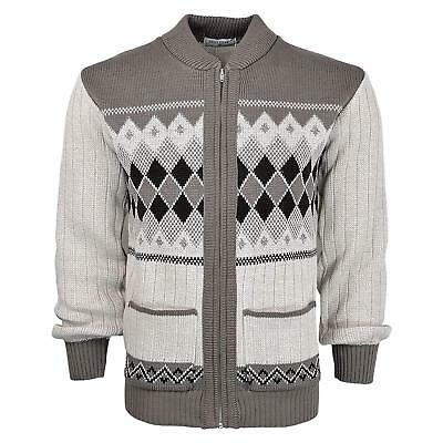 Mens Knitted Cardigan Classic Style Cardigans V Neck Zip Closure Jumper M-XXL