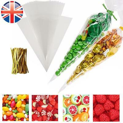 *UK Seller* Cellophane Medium size Cone Bags Twist Ties Party Sweet Cello Candy