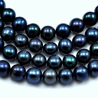 Dark Peacock Blue Navy Near Round Freshwater Pearls for Jewellery Making A
