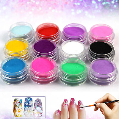 12 PCS Mix Colors Set Nail Art Acrylic Powder Dust Decoration For Nail Tips