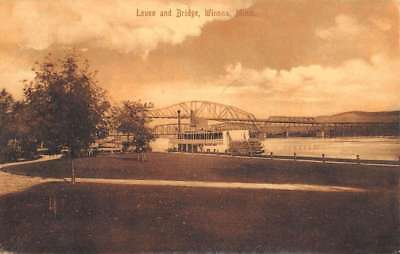 Winona Minnesota Levee And Bridge Scenic View Antique Postcard K103192