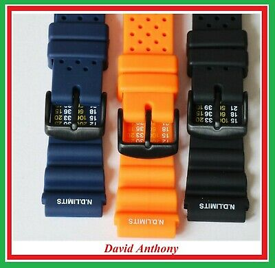 20Mm  22Mm Divers Polyurethane Rubber N.d.time/limits  Watch Strap. Black Buckle